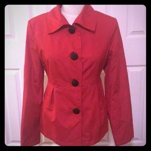 Red short trench coat. Size M. Like New.